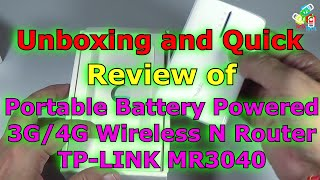 Portable Battery Powered 3G 4G Wireless N Router TL-MR3040 Unboxing and Quick Review