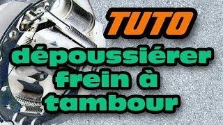 TUTO comment nettoyer/dépoussiérer un frein à tambour (how to clean, lubricate squeaky drum brakes)