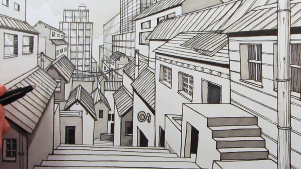 How to Draw a City using 1Point Perspective Narrated YouTube