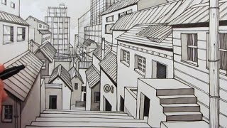 How to Draw a City using 1-Point Perspective: Narrated