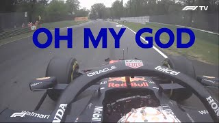 "Max Verstappen reacting to Hamilton's off and to the Bottas - Russell crash! ""OH MY GOD"" 