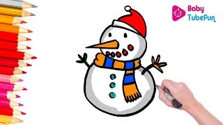 Learn how to draw and color snowman, kids coloring pages, babytubefun