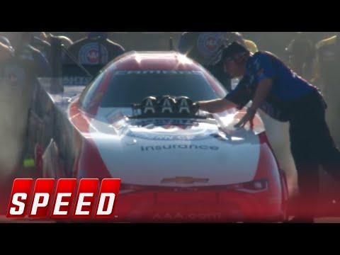 Robert Hight Vs. Courtney Force - Charlotte Funny Car Final   2017 NHRA DRAG RACING