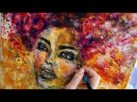 Abstract afro face paint, Acrylic african portrait timeline painting
