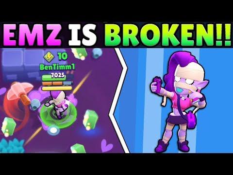 NEW BRAWLER EMZ SHOWDOWN SECRETS! SHE IS TOTALLY BROKEN!