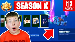 SEASON 10 BATTLE PASS REACTION FORTNITE - Nintendo Switch - Solid Gold VICTORY ROYALE!!!