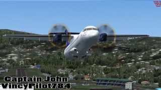 FSX Liat ATR Takeoff From St. Vincent and Landing in Barbados