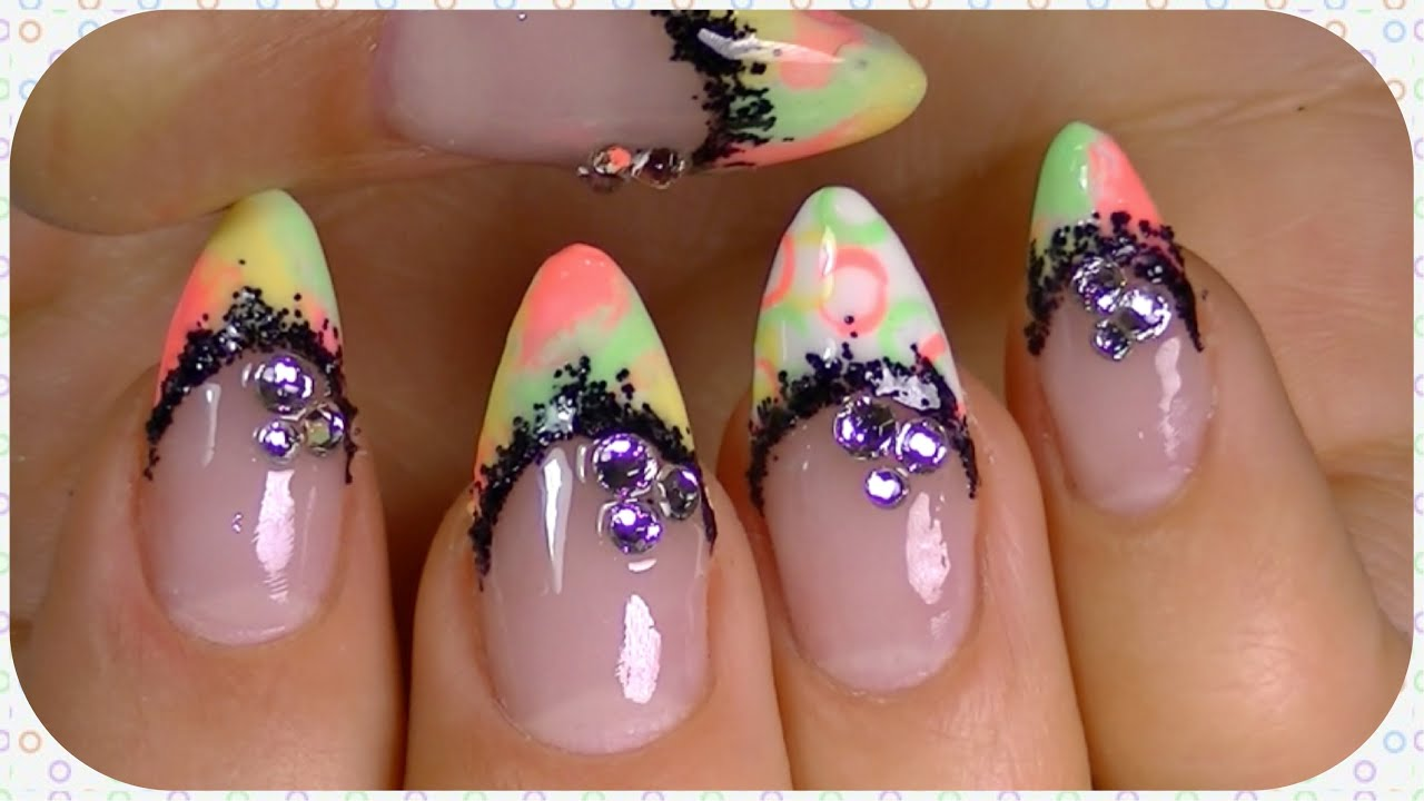 neon nail design summer 2014