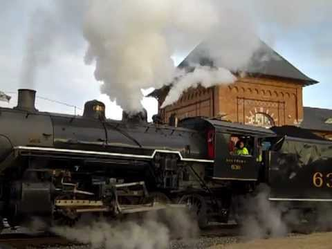 NORFOLK SOUTHERN 630 STEAM ENGINE LOADS & DEPARTS BRISTOL,VA TN TRAIN STATION 3 10 13