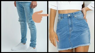 DIY Convert Old Jeans into skirt In 10 minutes