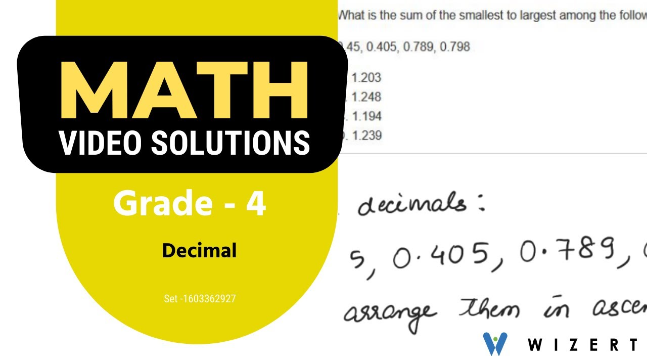 Grade 4 Math Tests - Maths Decimals worksheets for Grade 4 - Set 1603362927  - YouTube [ 720 x 1280 Pixel ]