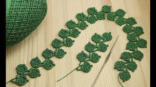 Ленточное кружево - веточка листиков - вязание крючком Crochet Simple Lace