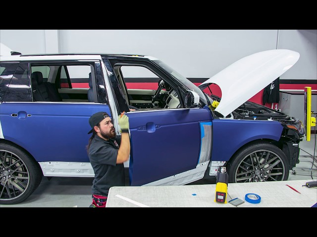 CarBlip Range Rover (2019) White to Purple Full Car Vinyl Wrap by Ghost Shield Film in Thousand Oaks