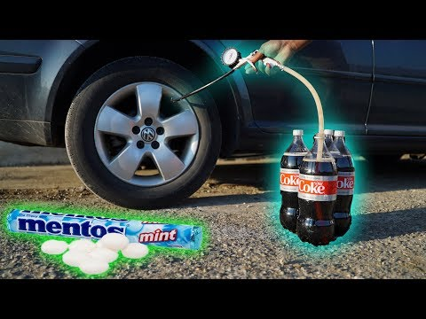 We Put COKE & MENTOS In a TIRE!