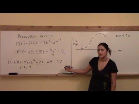 Math 148 W6: Point of Diminishing Returns