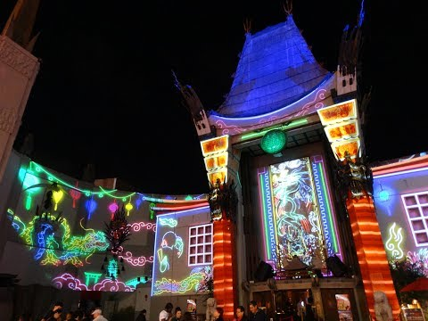 "Grauman's Chinese Theatre projection-mapped show ""Hollywood Lights - The History of Cinema"""
