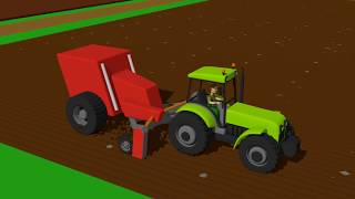 Tractor with blocks - construction and uses | Fairy tales tractors for kids and babies -Traktory