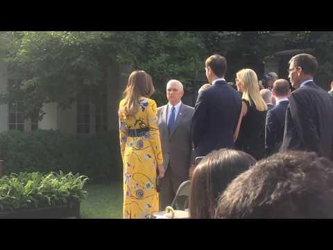 Vice President Pence, Melania Trump, Ivanka Trump and Jared Kushner at the Rose Garden