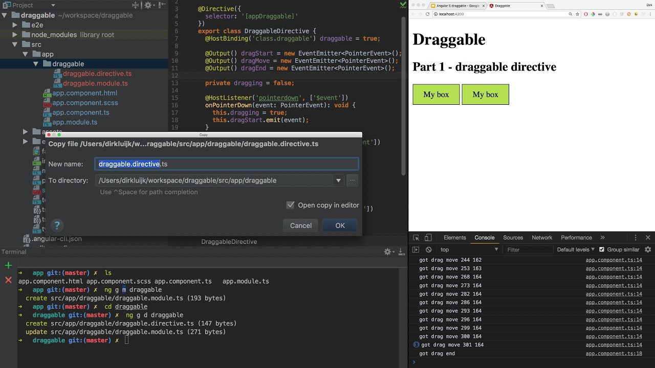 Drag/drop in Angular 5+ - part 1 of 6 - draggable directive