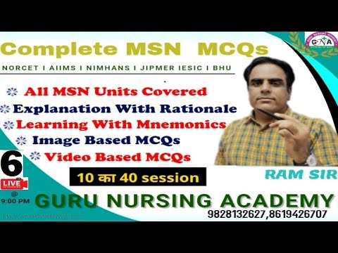 MCQ Session - 6 Medical Surgical Nursing By - Ram sir