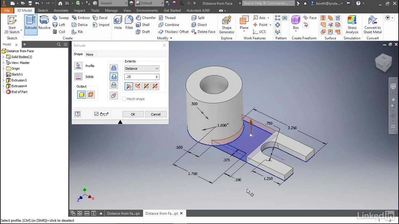 Extrude Enhancements Autodesk Inventor 2018 New Features