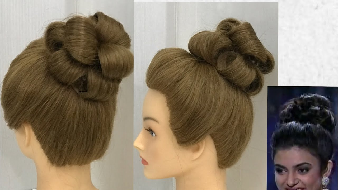 How To Do Flower Bun Hairstyle Party Hairstyles With Gown