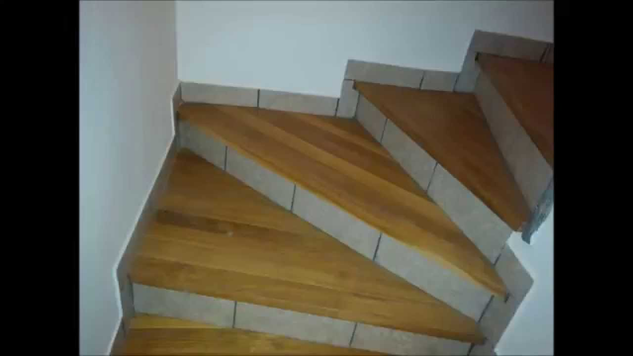 Cheap stairs made from oak wood and tiles - YouTube