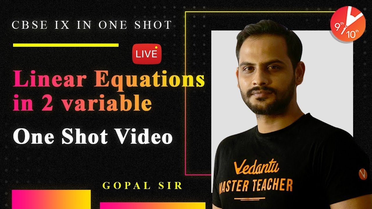 Download Linear Equations in Two Variable in One-Shot   CBSE Class 9 Maths Chapter 4 NCERT Solutions  Vedantu