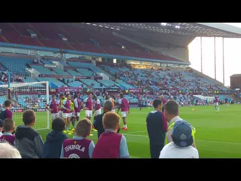 Tommy Elphick & Jack Grealish leading a Villa warm up drill