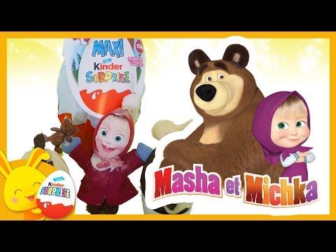Kinder surprise Masha et Michka et cuisine d'oeuf en chocolat - Touni Toys Titounis Spécial Paques