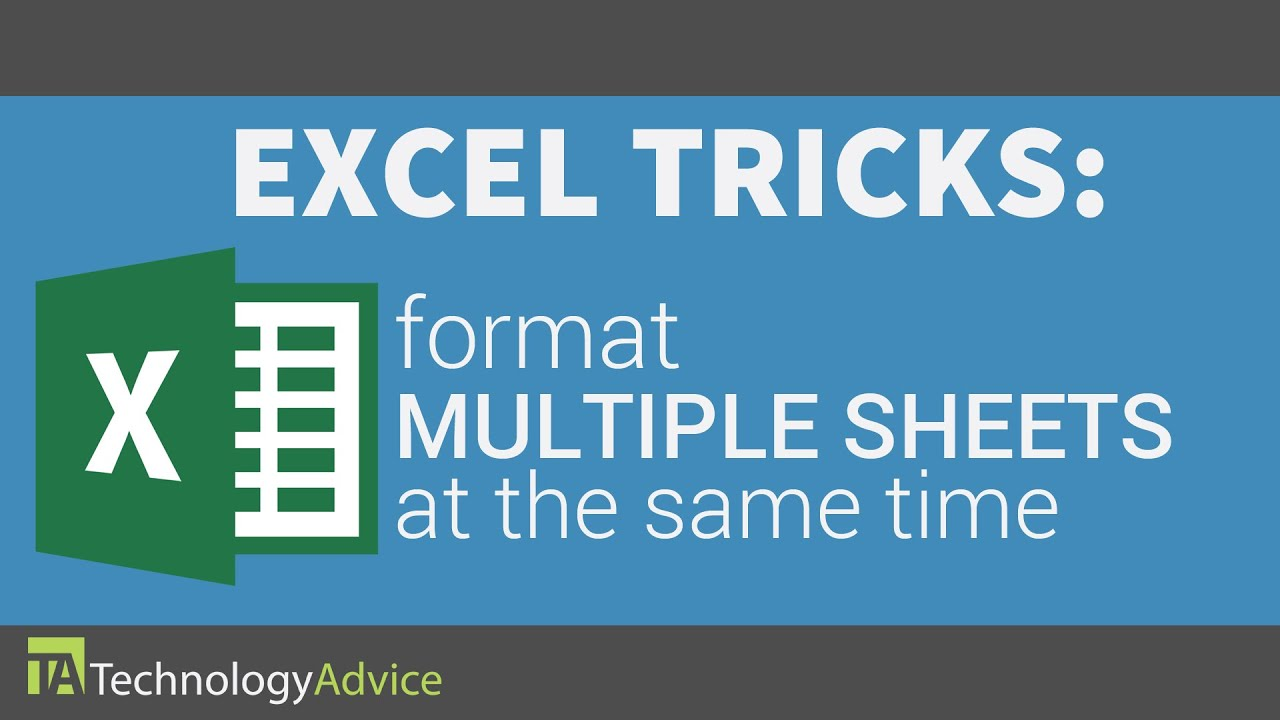 Excel Tricks - Format Multiple Sheets at the Same Time - YouTube