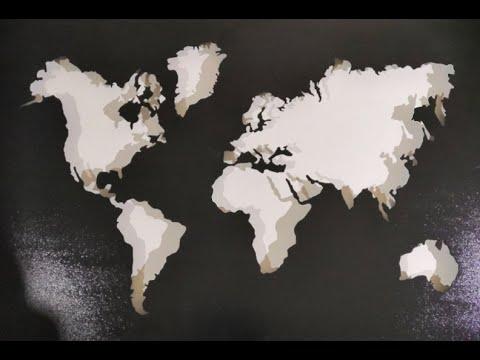 """Картина """"Карта мира """"сталеграфика."""