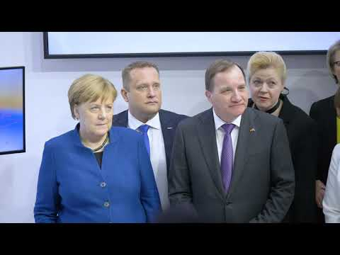 The visit of the chancellor of Germany, Angela Merkel at Omron at Hannover Messe