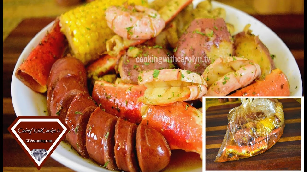 BAKED SMOKY CRAB LEGS and SHRIMP |CRAB BOIL IN A BAG |Cooking With Carolyn