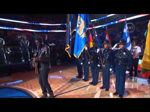 Gary Clark Jr performs the National Anthem at the NBA All-Star Game 2014