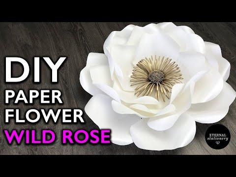 Easy Paper Flower Tutorial, DIY Paper Flower Backdrop (Medium Wild Rose)