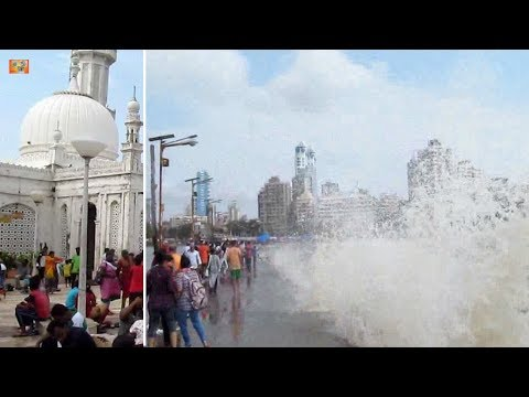 Haji Ali Dargah : Monsoon Experience : Waves Splashing across the Walkway / Causeway 14th June 2017