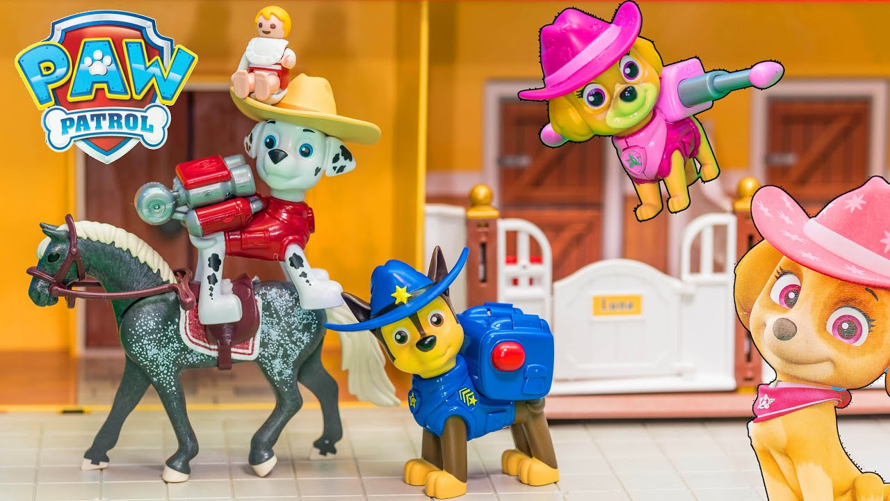 Paw Patrol Cowboy Skye And Chase Play On The Horse Farm   YouTube