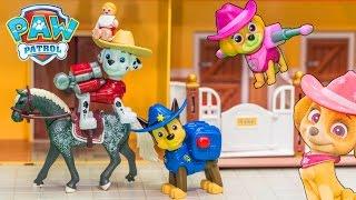 PAW PATROL Nickelodeon Paw Patrol Cowboy Skye + Chase + Marshall Paw Patrol Video Toy Review