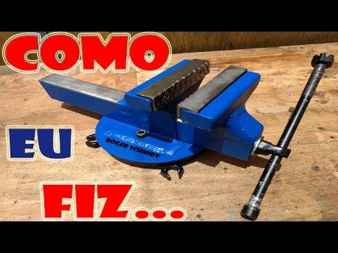 """Morsa/Torno de Bancada c/ Base Giratória """"Caseiro"""" - Steel Bench Vise DIY"""
