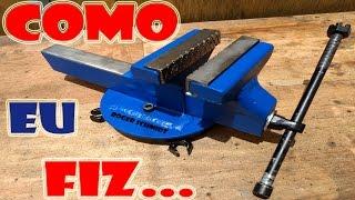 Morsa/Torno de Bancada c/ Base Giratória 'Caseiro' - Steel Bench Vise DIY