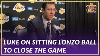 Lakers Post Game: Luke Walton On Why Lonzo Ball Sat in the Fourth to Close Out the Game