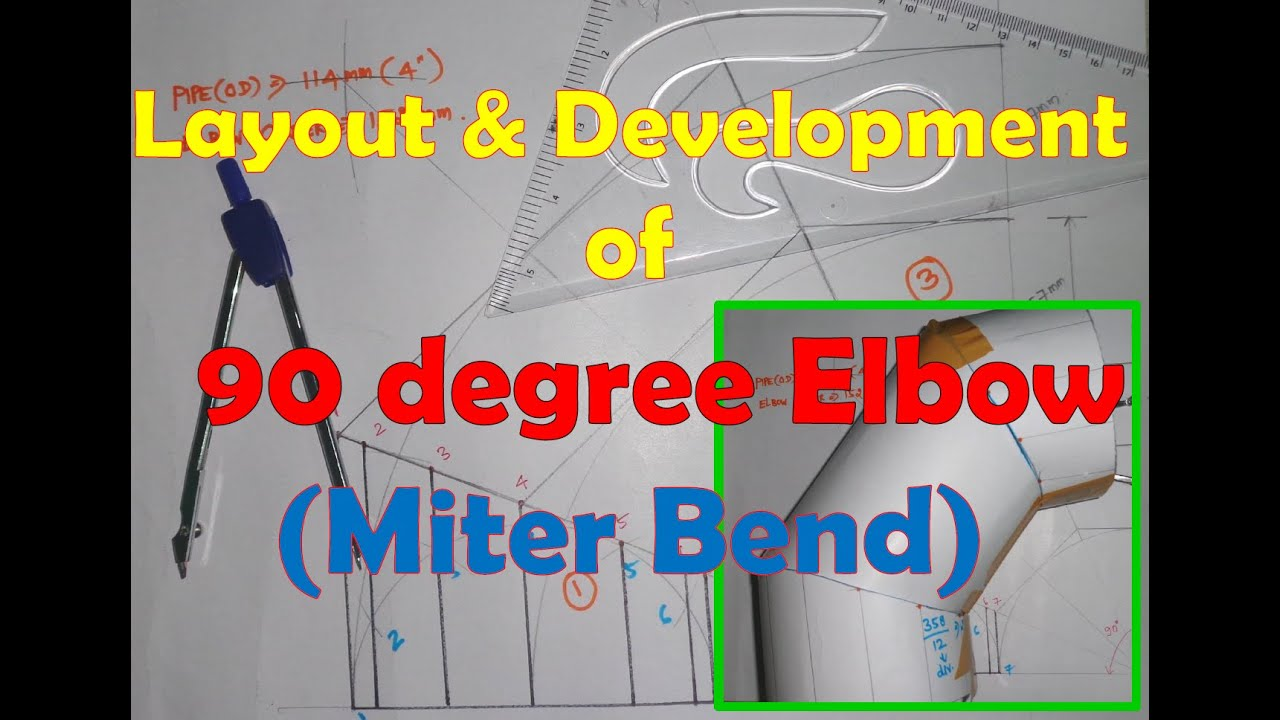 layout and development of 90 degree elbow miter bend