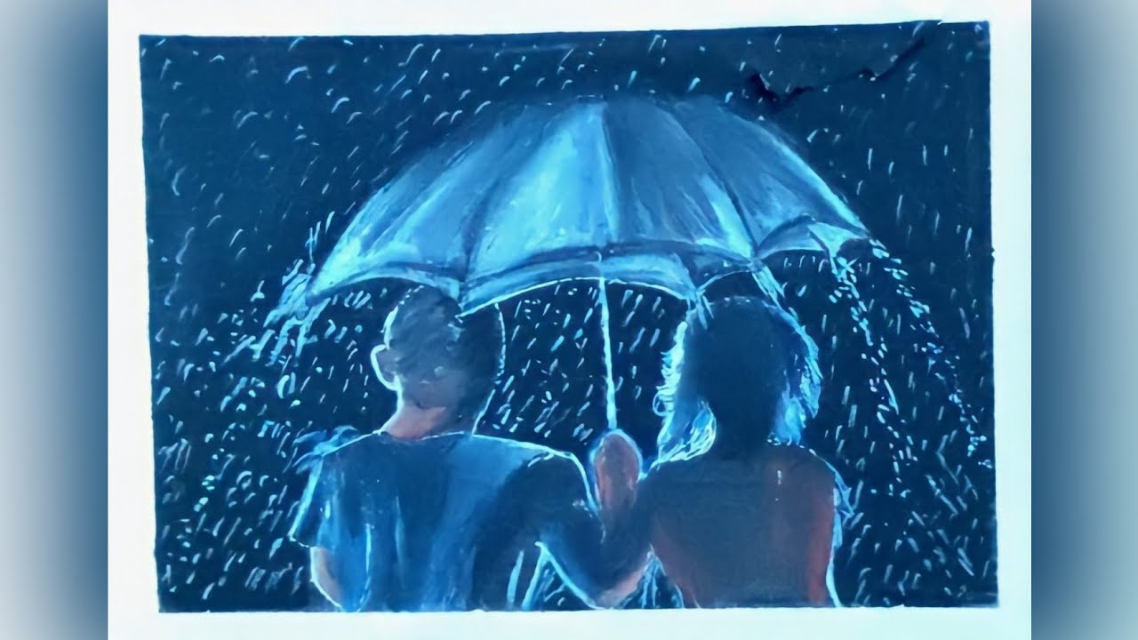 Couple under the umbrella in Rainy Night Oil pastel Drawing Step by Step    Oil pastel Drawing