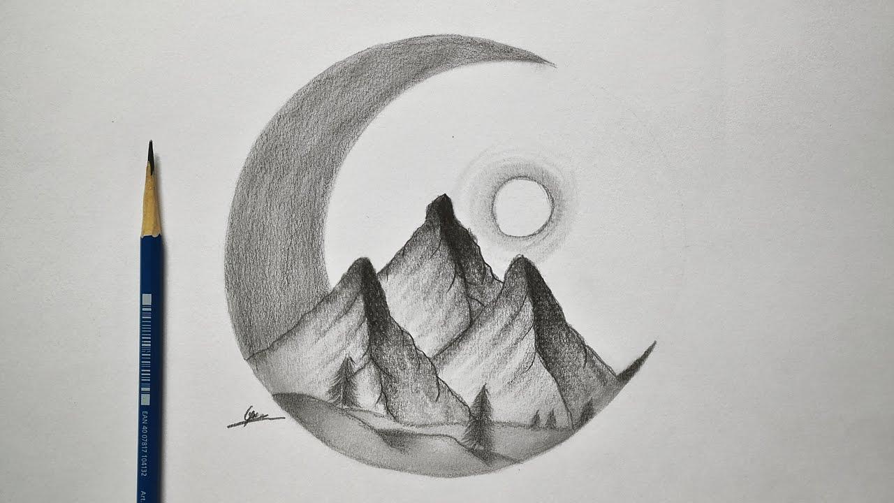 كيفية رسم منظر طبيعي ليلي سهل خطوة خطوة رسم سهل وبسيط تعلم الرسم