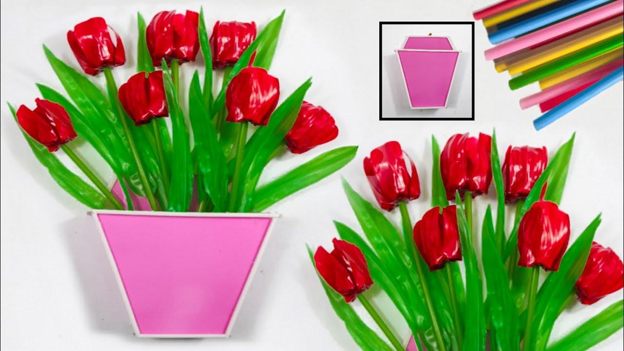 Cara Membuat Bunga Tulip Cantik Dari Sedotan Kreatif New Design Flowers Straw Youtube