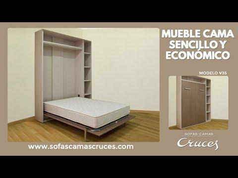 Mueble cama abatible en vertical sencillo y econ mico for Cama escondida en mueble