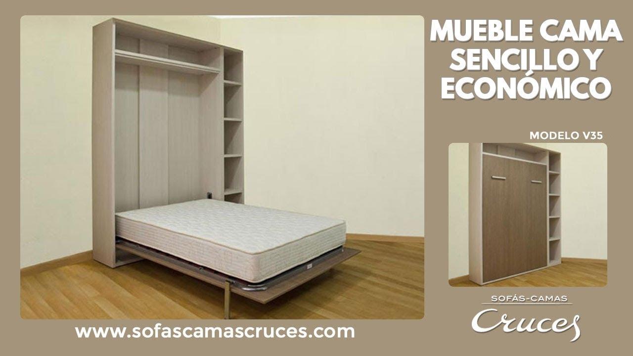 Mueble cama abatible en vertical sencillo y econ mico for Mueble que se convierte en cama