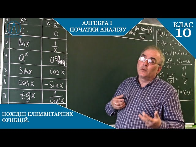 10 клас. Алгебра. Похідна елементарних функцій.