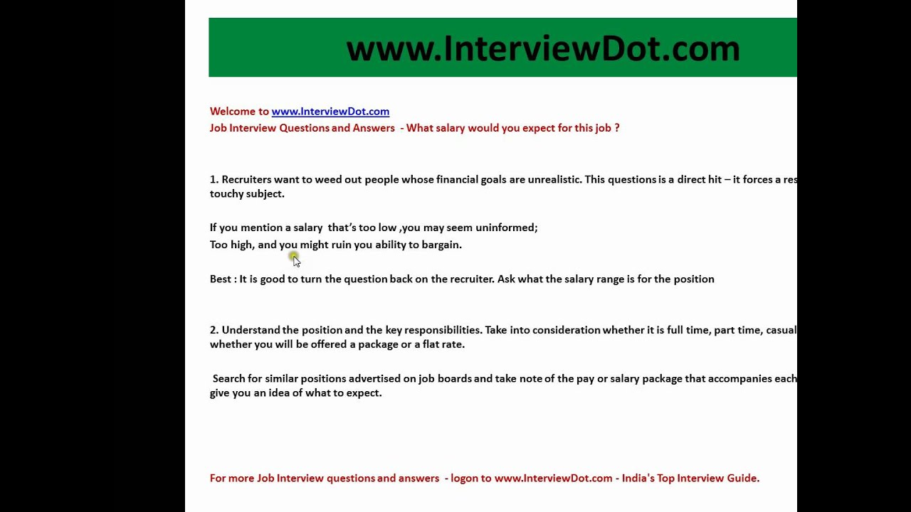 Job Interview Questions And Answers What Salary Would You Expect For This  Job Best Answer